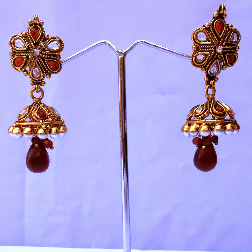Red stone embedded jhumka earrings