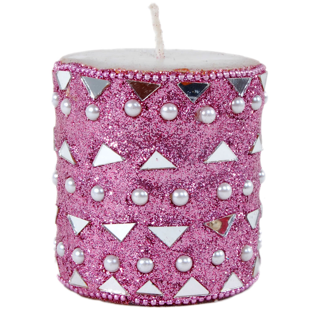 Round Shaped Beads & Mirror Work Candle
