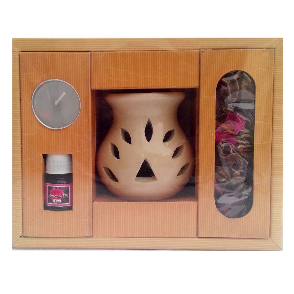 Scented aroma oil, burner with wax t-lite candle & floral petals