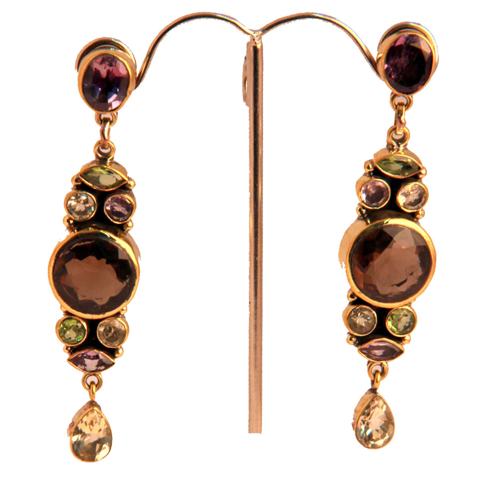 Semi precious gem embedded earrings