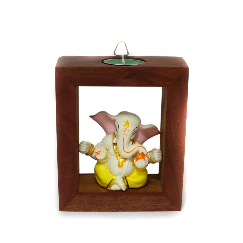 Serene Ganesha T-Light Candle Stand