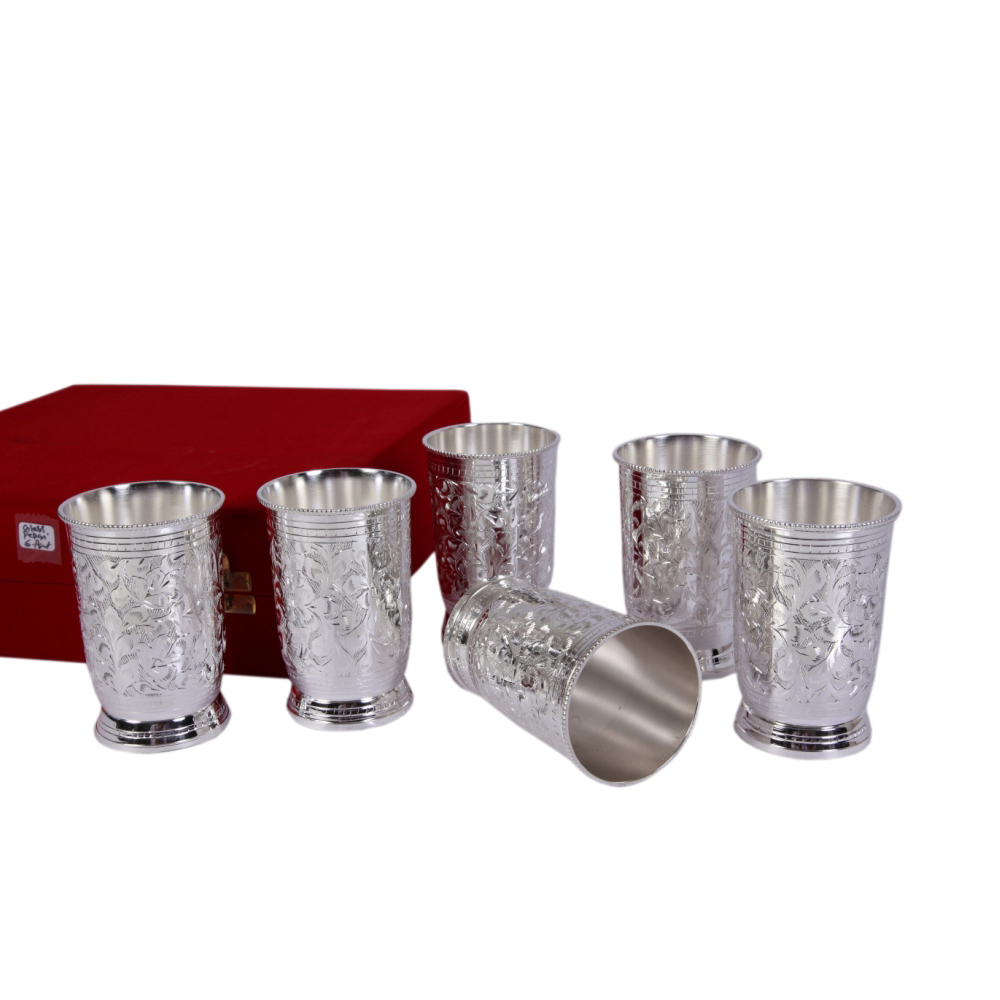 Set Of 6 Glasses Made Of German Silver