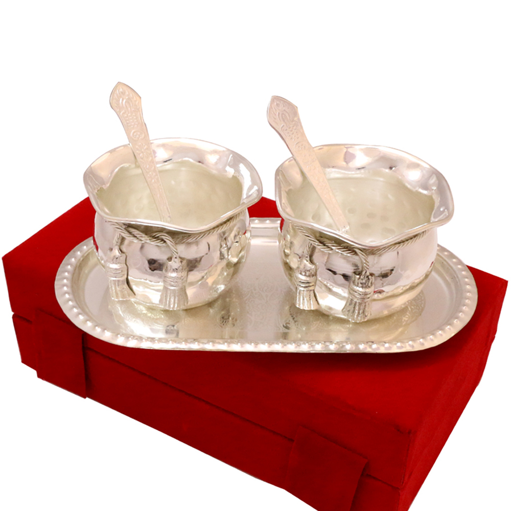 Indian Wedding Return Gift Ideas: Silver Coloured Twin Bowl Set Made Of German Silver