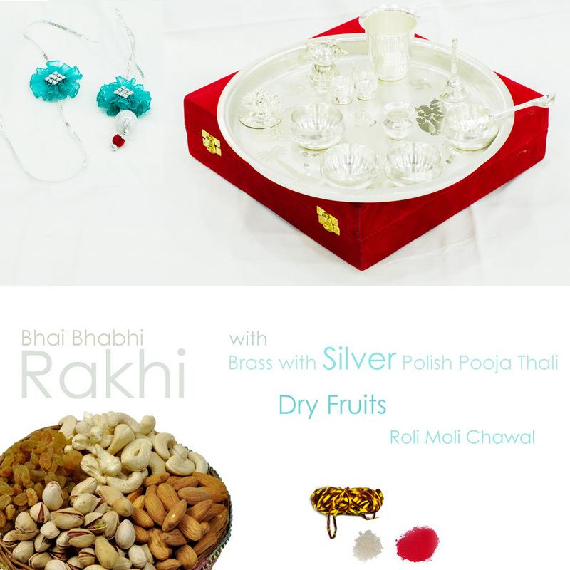 Silver polished pooja thali with designer rakhi, dryfruits