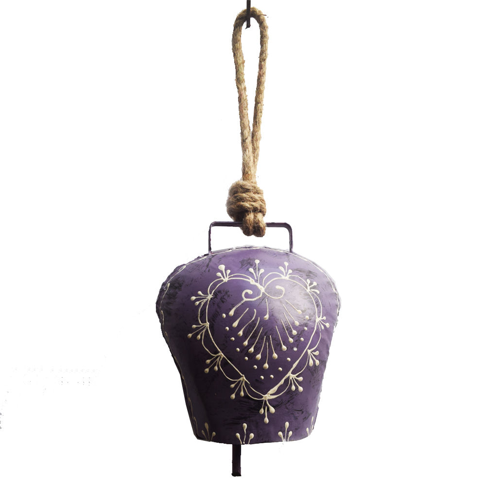 Simple yet suave metal wind bell with small flower prints