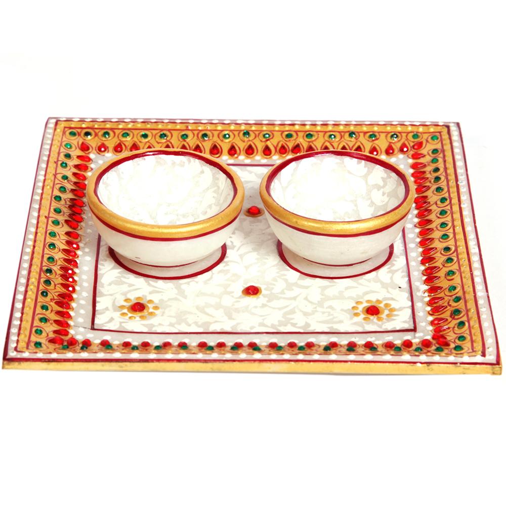 Square Twin Diya Pooja Plate
