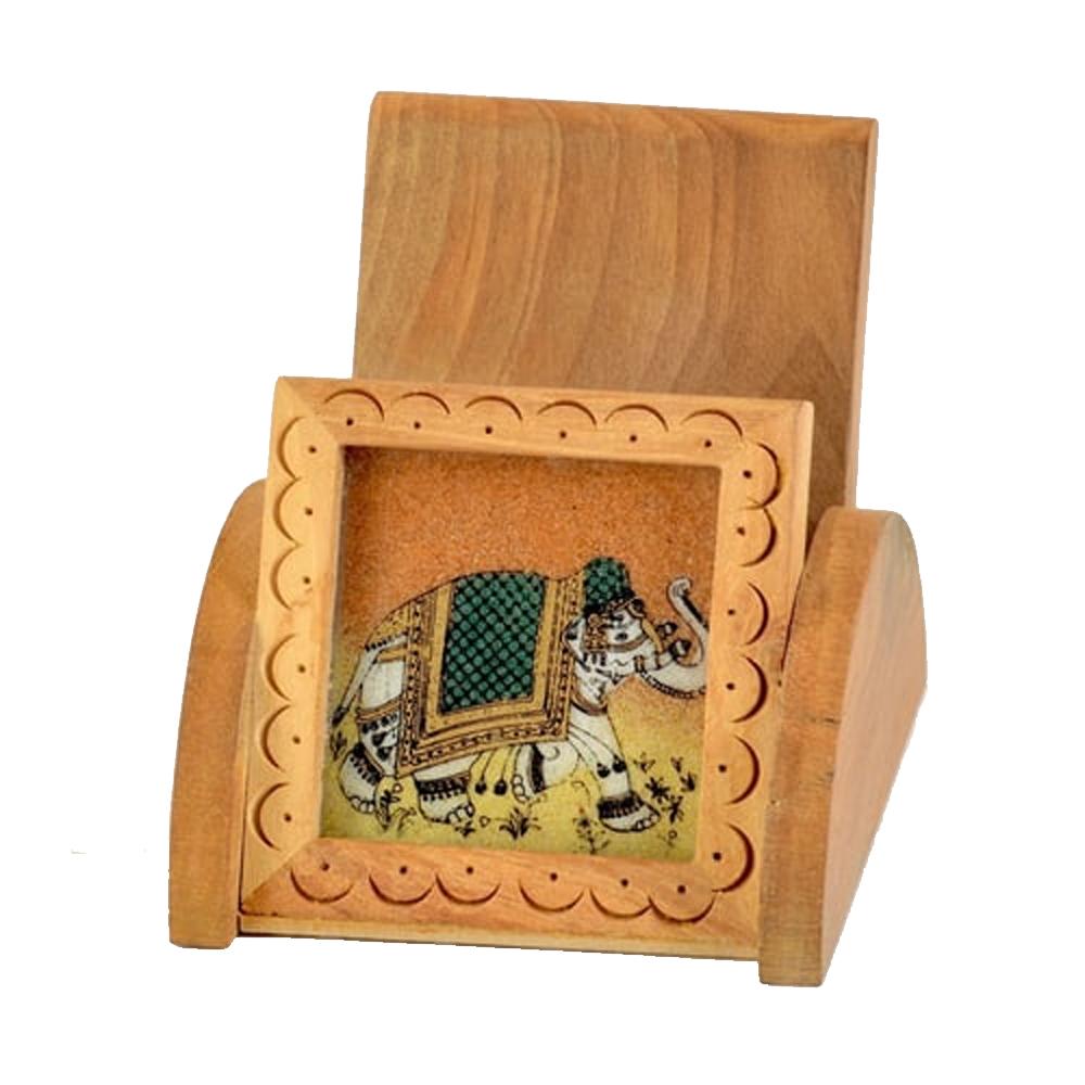 Stylish wooden gemstone mobile holder for your office desk