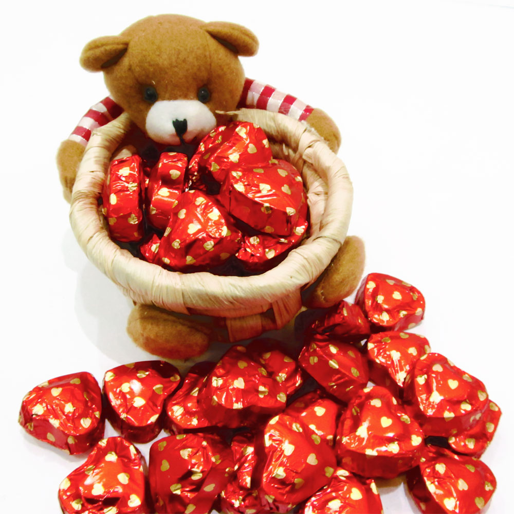 Chocolates in teddy shaped basket