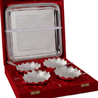 4 Lotus Shaped Bowl Set with Spoons & Serving Tray in German Silver