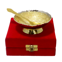 A mix of simplicity with a hint of royalty is this two tone german silver bowl and spoon
