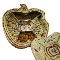 Apple shaped gift box with wooden base, brass covering and meena work