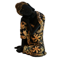 Beautiful Floral Design Black Dhyan Pose Buddha Resin Statue
