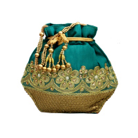 Beautiful Handcrafted Satin Potli Bag With Floral Designs