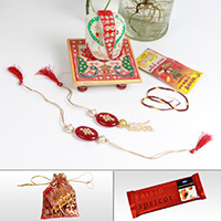 Beautiful Rakhi Pair For Bhaiya Bhabhi With Marble Ganesh Chowki & Chocolate
