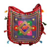 Beautiful Red Handle Bag With Flower Petal Designs For All Purpose