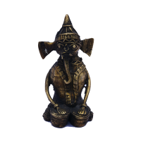 Brass Ganesha Statue with Embossed Work
