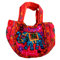 Bright Pink Coloured Suzani Hanging Bag with Small Handle