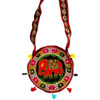 Circular Handcrafted Elephant Printed Multicolour Bag