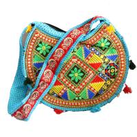 Circular Sky Coloured Boho Bag With Long Handle For School Girls