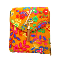 Colourful Embroidery Work Done On Yellow Base Work Hanging Bag