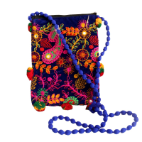 Colourful Mobile Purse Bag With Long Beaded Sling