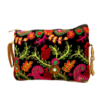 Colurful Embroidery Design On Black Purse With Handle