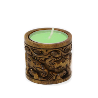 Cylindrical Wooden Designer Candle Stand