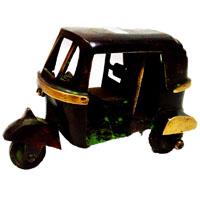 Decorative auto rikshaw in brass metal