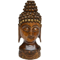 Decorative Mahatma Buddha Head Figure in Wood