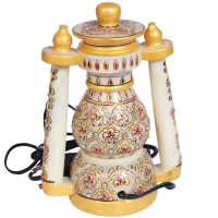 Decorative Marble Lantern with Floral Design Work