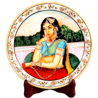 Decorative Marble Plate with Rajasthani Bani Thani Figure