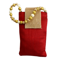 Deep Red Coloured Rectangular Pouch Bag With Stone and Pearl Designs