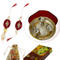 Designer Rakhi & Lumba With German Silver Pooja Thali & Sweets