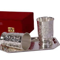 Designer Glass Set of Two in German Silver