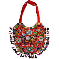 Designer Multicolour Party Bag With Leaf Cutting Work With Handle