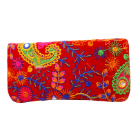 Embroidery Designed Red Small Handle Clutch Bag For Everyday Use