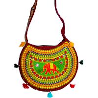 Emroidered Colourful Semi-circular Designer Bag With Elephant Image