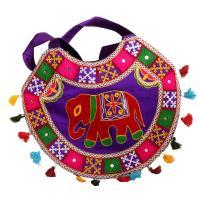 Ethnic Semi-Circular Rajsi Blue Bag With Colourful Designs