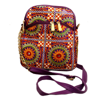 Export Quality Leather and Fabric Bag With Multi-colour Designs