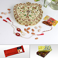 Fancy Rakhi For Bhaiya With Dry Fruits In An Apple Shaped Meenakari Box