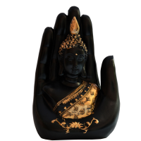 Fiber Palm Buddha In Black With Gold Details