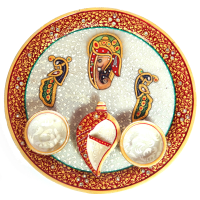 Ganesh and Peacock Engraved Meenakari Pooja Plate