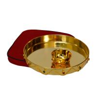 Golden Pooja Thali in German Silver
