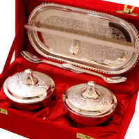Wedding Gift Ideas For Best Friend Female Indian : German Silver Made Twin Bowl Set With Lid, Tray and Spoon