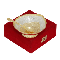 Gold & Silver Ornate Bowl with Matching Spoon Set