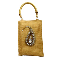 Golden Kairy Clutch Bag With Traditional Stone Design Work