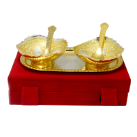 Gorgeous set of german silver bowls with spoon and tray with two tone