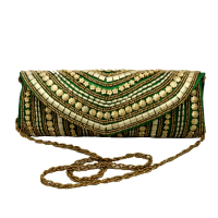 Gota Patti Light Green Clutch Bag With Sequence Work All Over