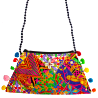 Handcrafted Clutch Bag with Sling & Accentuating Zig-zag Designs