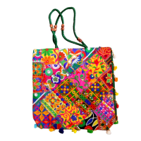 Handcrafted Multi-colour Square Bag With Small Handle